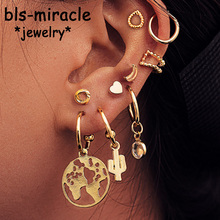 Bls-miracle New Fashion Moon Heart Earrings For Woman Trendy Geometric Pendant Dangle Earrings 2019 Small Female Jewelry