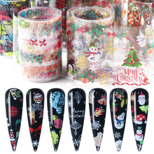 10pcs Christmas Santa Sticker On Nails Clear DIY Nail Art Transfer Foil Snowman Elk Adhesive Tips Gel Polish Accessories BE1036