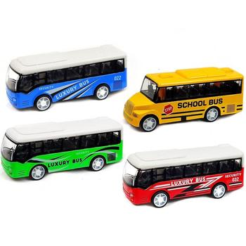 Kid Mini Simulation Pull Back School Luxury Bus Model Collectible Toy Home Decor Tabletop Ornaments Boy Birthday Gift image