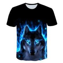 Meninos da moda topos lobo impressão 3d camiseta legal engraçado t camisa de manga curta topos camiseta menina animal impressão camiseta crianças 3-15y