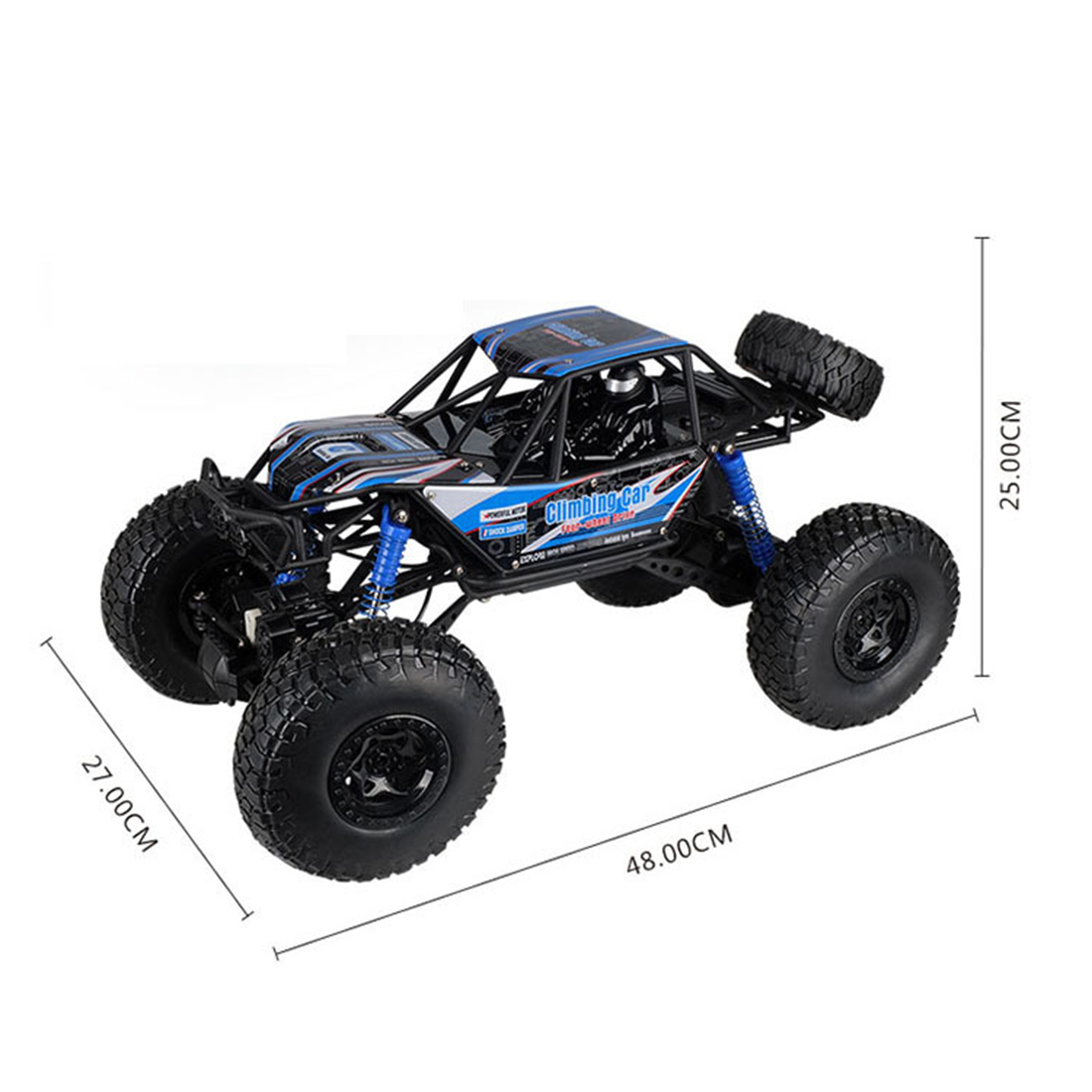 48cm 1:10 4WD 2.4G RC Monster Truck High Speed Racing Car Off Road Vehicle For Child School Play Education Birthday Gift Blue - 2
