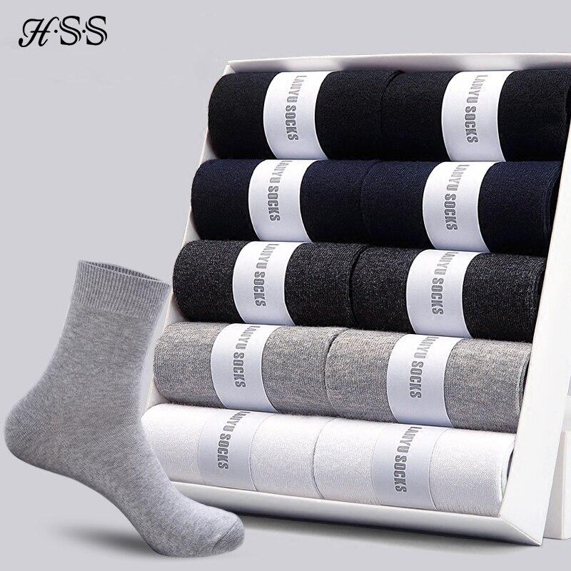 HSS 2020 männer Baumwolle Socken Neue stile 10 paare/los Schwarz Business Männer Socken Atmungsaktive Herbst Winter für Männlichen UNS größe (7,5-12)