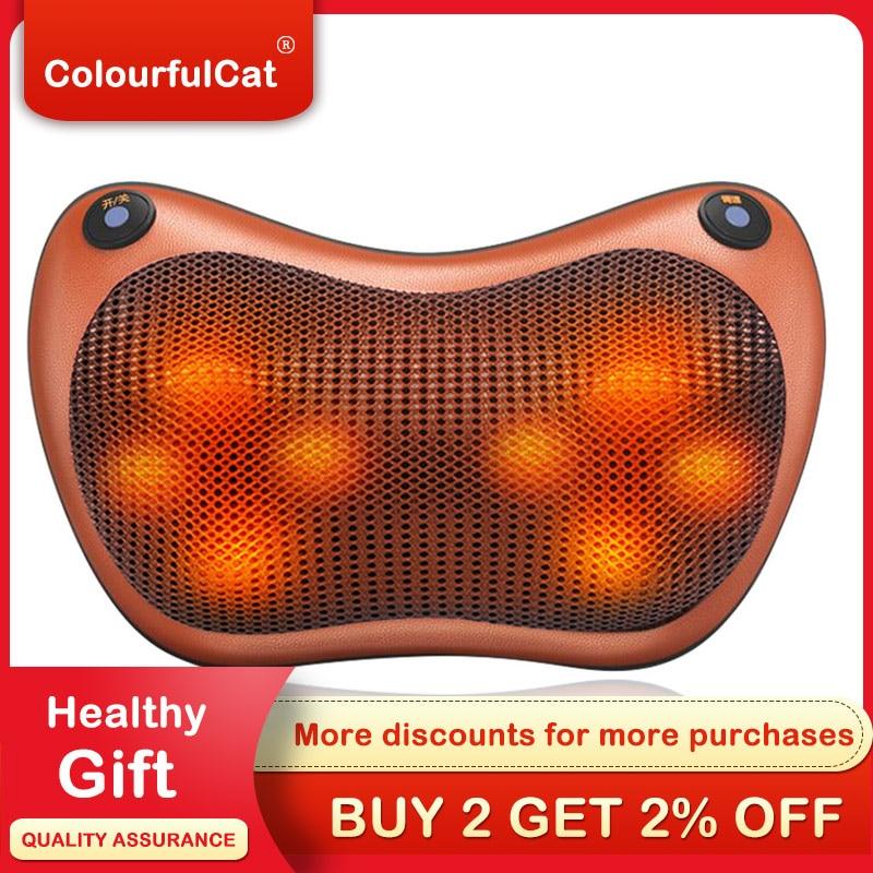 Neck Massager Pillow Car Home Office Cervical Shiatsu Massage Neck Back Waist Body Electric Massage Cushion Masage Gift