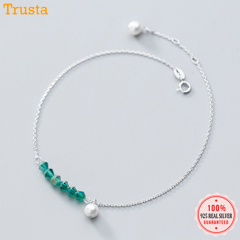 Trustdavis 100% 925 Sterling Silver Green Zircon Synthesis Pearl Anklets For Women Girl Valentine's Day Birthday Gift DS1409