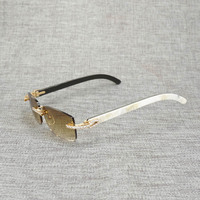 Rhinestone Black White Buffalo Horn Rimless Sunglasses Men Natural Wood Sun Glasses Retro Shades Oculos Eyewear for Club Summer