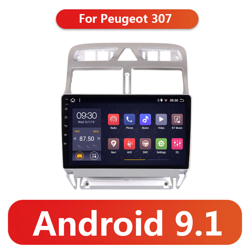 2G+32G <font><b>2din</b></font> Android 9.1 Car DVD Multimedia Player <font><b>for</b></font> <font><b>Peugeot</b></font> <font><b>307</b></font> 307CC 307SW 2002-2013 Car <font><b>Radio</b></font> GPS Navigation WiFi BT Player image
