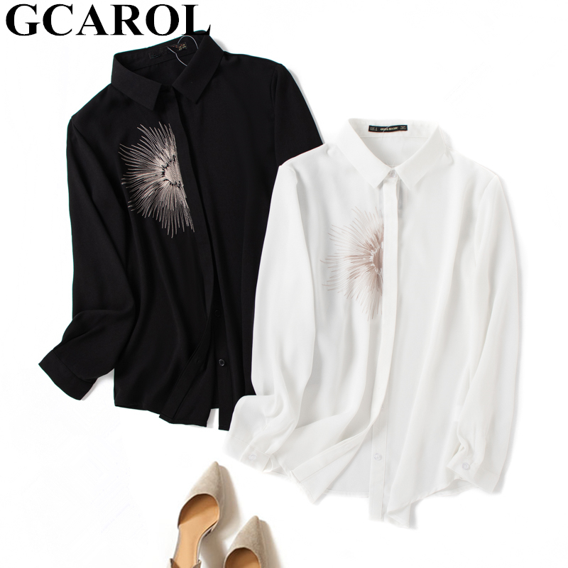 GCAROL New Women Embroidery Blouse 30% Cotton Blends Elegant OL Shirt Mid Length High Quality Classic Multi-Occasion Tops