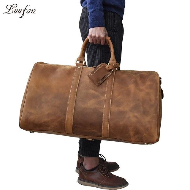 الرجال سعة كبيرة جلد طبيعي حقيبة سفر دائم مجنون الحصان الجلود السفر القماش الخشن الجلد الحقيقي كبير الكتف حقيبة عطلة الأسبوع