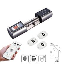 L5SR Plus pequeno bluetooth bloqueio inteligente cilindro eletrônico ao ar livre à prova dbiometric água biométrico impressão digital scanner keyless fechaduras da porta