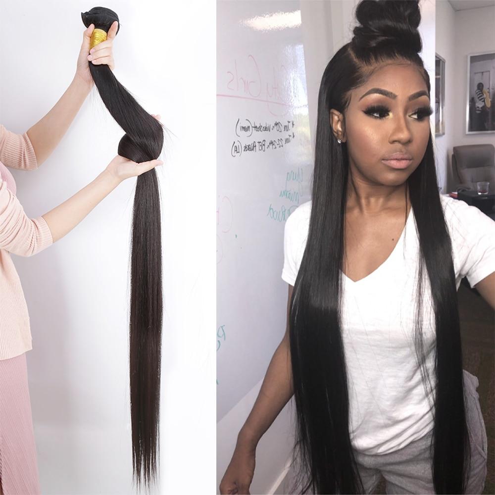 Pacotes retos do cabelo humano brasileiro tecer pacotes em linha reta 100% remy extensão do cabelo humano 30 32 40 polegada pacotes retos