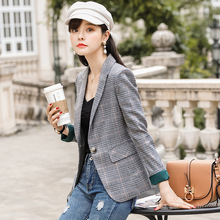 High quality womens plaid blazer 19 new long-sleeved slim ladies jacket Professional office suit Autumn clothing
