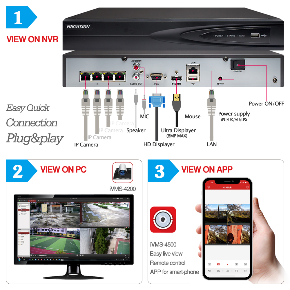 Image 2 - 4CH CCTV System 2+2 PCS Ultra 5MP Outdoor Security POE Camera & Hikvision 4 POE NVR DS 7604NI K1/4P DIY Video Surveillance Kits-in Surveillance System from Security & Protection