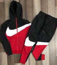 2021 ilkbahar ve sonbahar yeni spor erkek rahat renk eşleştirme fermuar spor kapüşonlu süveter moda erkek eğitim spor takım elbise