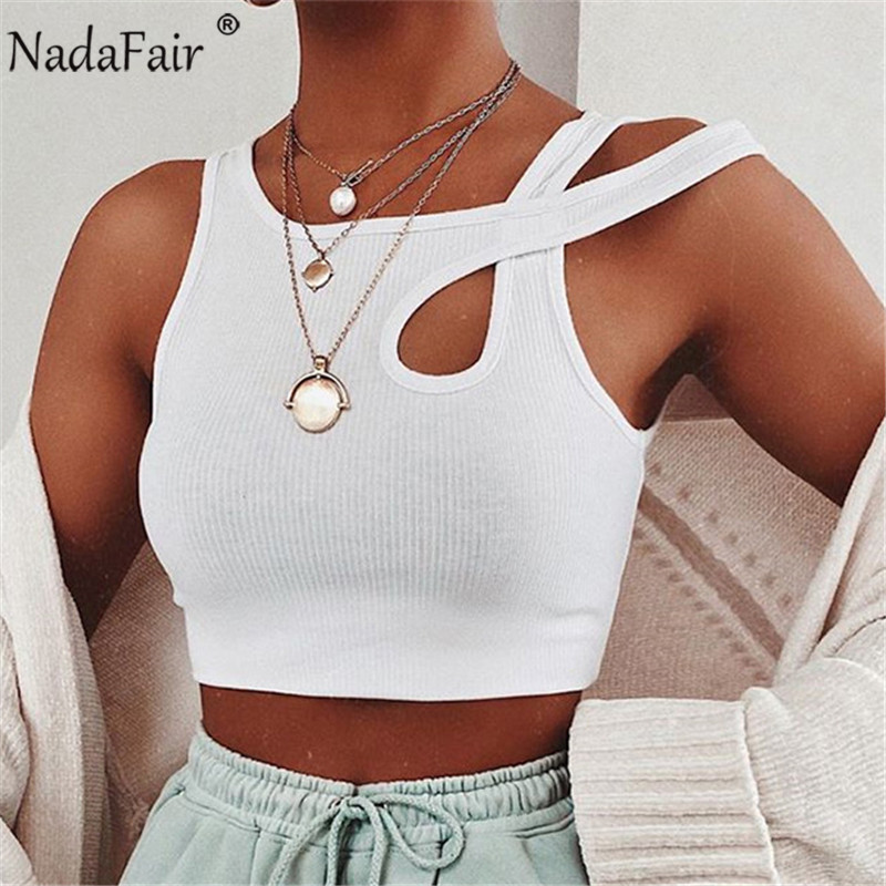 Nadafair Sexy Women Crop Tops White Hollow Out Club Skinny Ribbed Knit Summer Basic Tank Tops Women Outfits Streetwear(China)