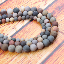 Matte Drawing Natural Stone Bead Round Loose Spaced Beads 15 Inch Strand 4/6/8/10/12mm For Jewelry Making DIY Bracelet