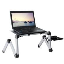 Стол для ноутбука портативный регулируемый, алюминиевый столик с вентиляционными отверстиями, эргономичный, для телевизора, кровати, офиса...