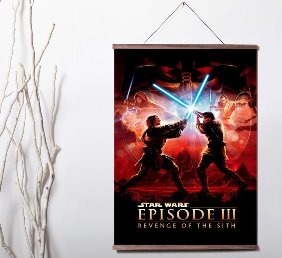 Star Wars Revenge Of The Sith Movie Art Canvas Poster Decoration Painting With Solid Wood Hanging Scroll Painting Calligraphy Aliexpress