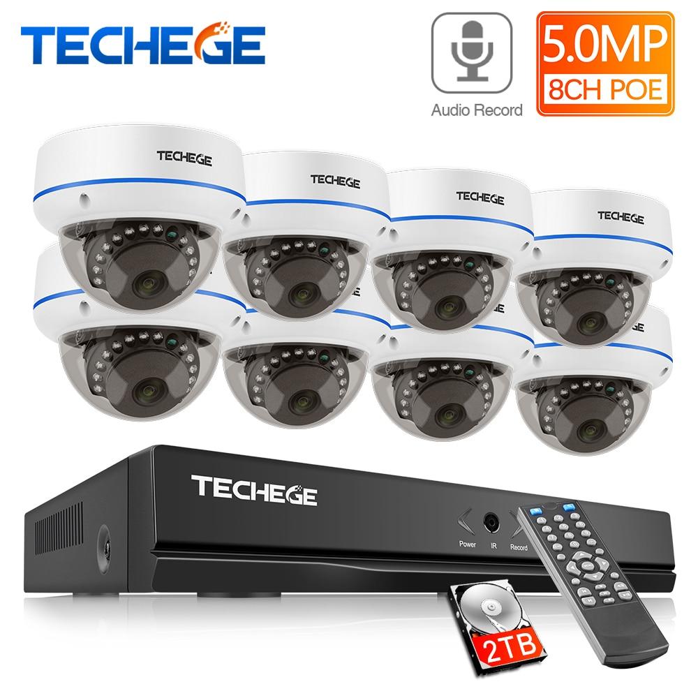 Techege 5MP POE CCTV Kit 8CH Kamera System Vandalproof IP Kamera Audio Record Motion E-mail Alarm Video Sicherheit Kamera System