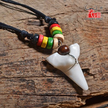 Man's Hawaii Surfer Jewelry Handmade Imitation shark teeth Pendant New Zealand Maori Tribal bone Choker Colored wooden Necklace(China)
