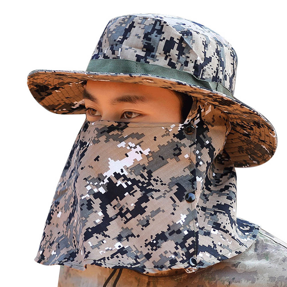 CapsA Fisherman Hat for Men Camouflage Wide Brim Sun Protection Hat Outdoor Mountaineering Hats