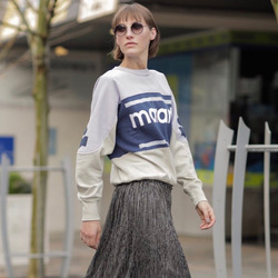 2020 Spring Women Fashion Letter Printed Loose Color Block Round Neck Pullover Women's Sweatshirt I1