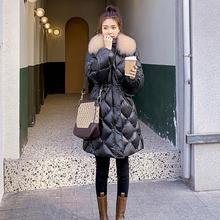 2020 płaszcz kurtka zimowa damska ciepłe parki z kapturem Bio Fluff płaszcz z kapturem wzrost jakości kobieta nowa kolekcja zimowa Hot tanie tanio Dpingnm CN (pochodzenie) Zima WOMEN Stałe long 1 2KG Pani urząd Kieszenie Zamki Osób w wieku 18-35 lat zipper Białe kaczki dół