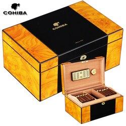 COHIBA-humidificateur à cigare avec clés, luxe, humidificateur à clés, finition Piano en bois de cèdre, brillant