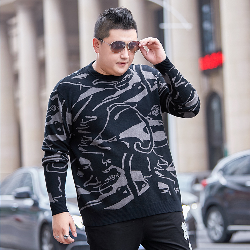 Youth Sweater Men's Fashion Plus Size 8XL 7XL Long-Sleeve 0-Neck Sweater Men's Slim Business Casual Large Size Pullover Sweater
