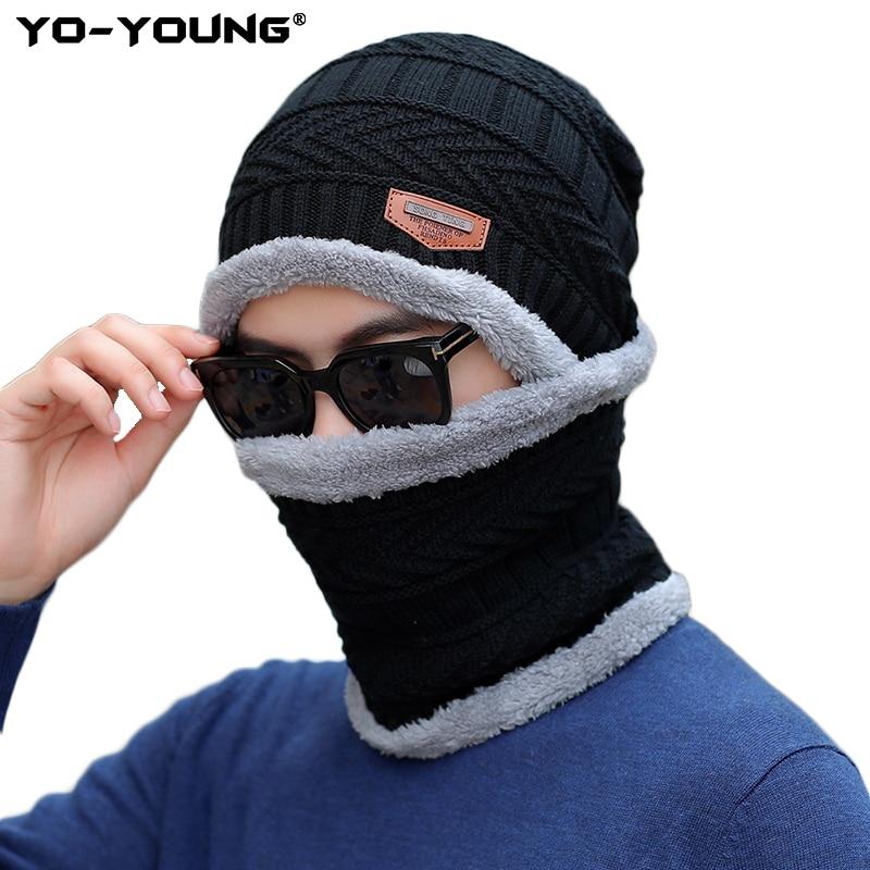 Yo-Young 2 Pcs Winter Hats For Men Skullies Beanie Hat Winter Cap Men Women Wool Scarf Caps Set Balaclava Mask Gorras Bonnet