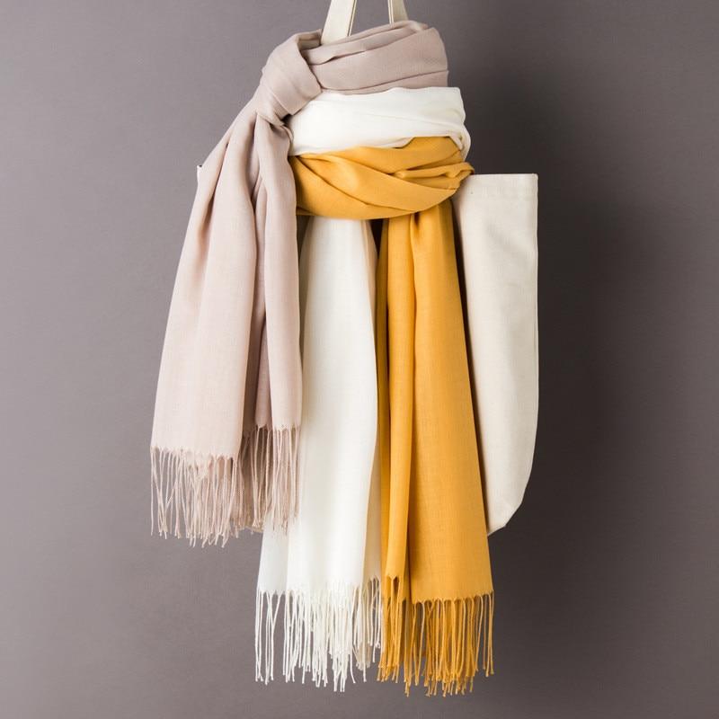 2020 Luxury Brand Muslim Head Scarves For Women Plain Shawls And Wraps Solid Female Hijab Stole Pashmina Cashmere Foulard