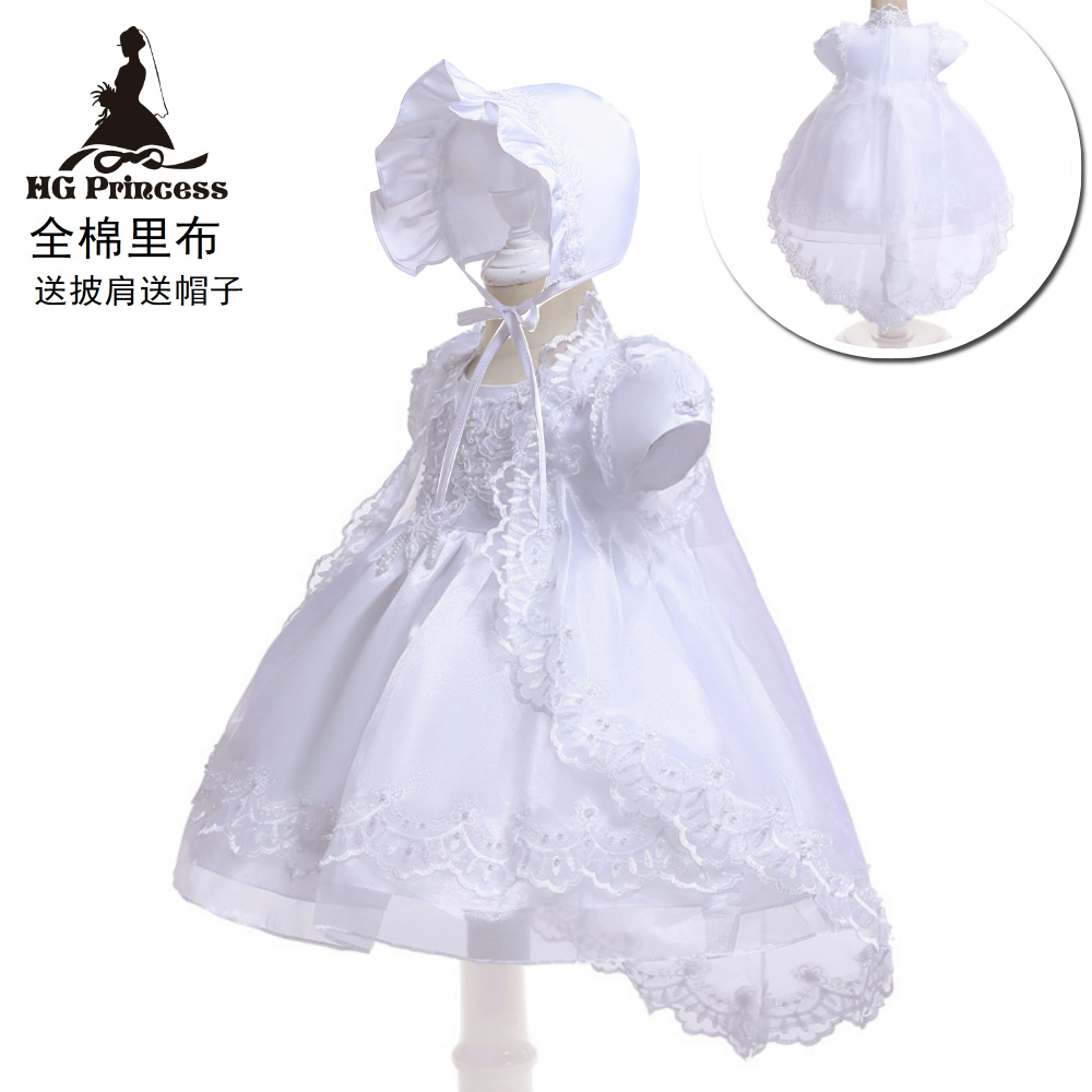 Amazon Hot Selling 0-1-Year-Old Newborns White Wash Formal Dress Baby A Year Of Age Infant Princess Skirt Organza Embroidered