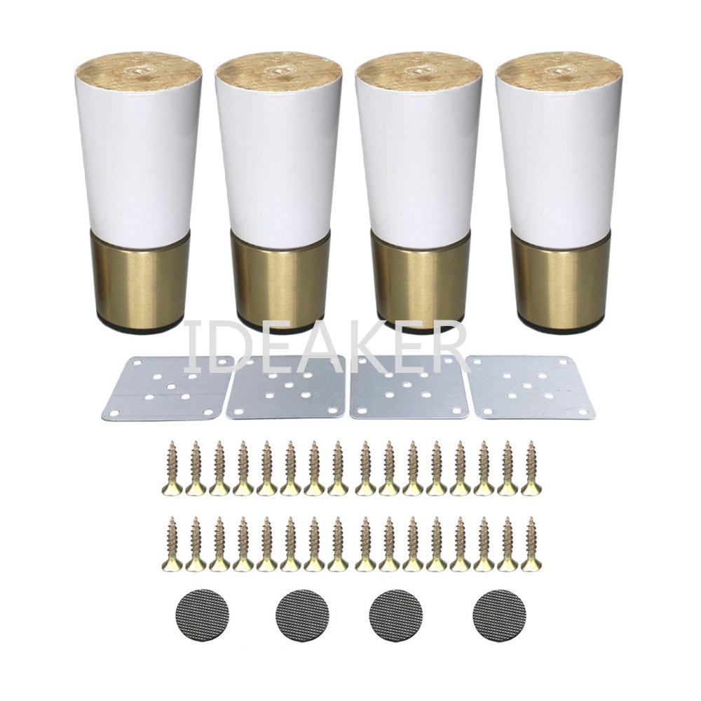 4PCS 4.8x10x3.6CM Oak Furniture Legs Wooden Furniture Feet Cabinet Table Sofa Legs Iron Pads Gaskets Screws