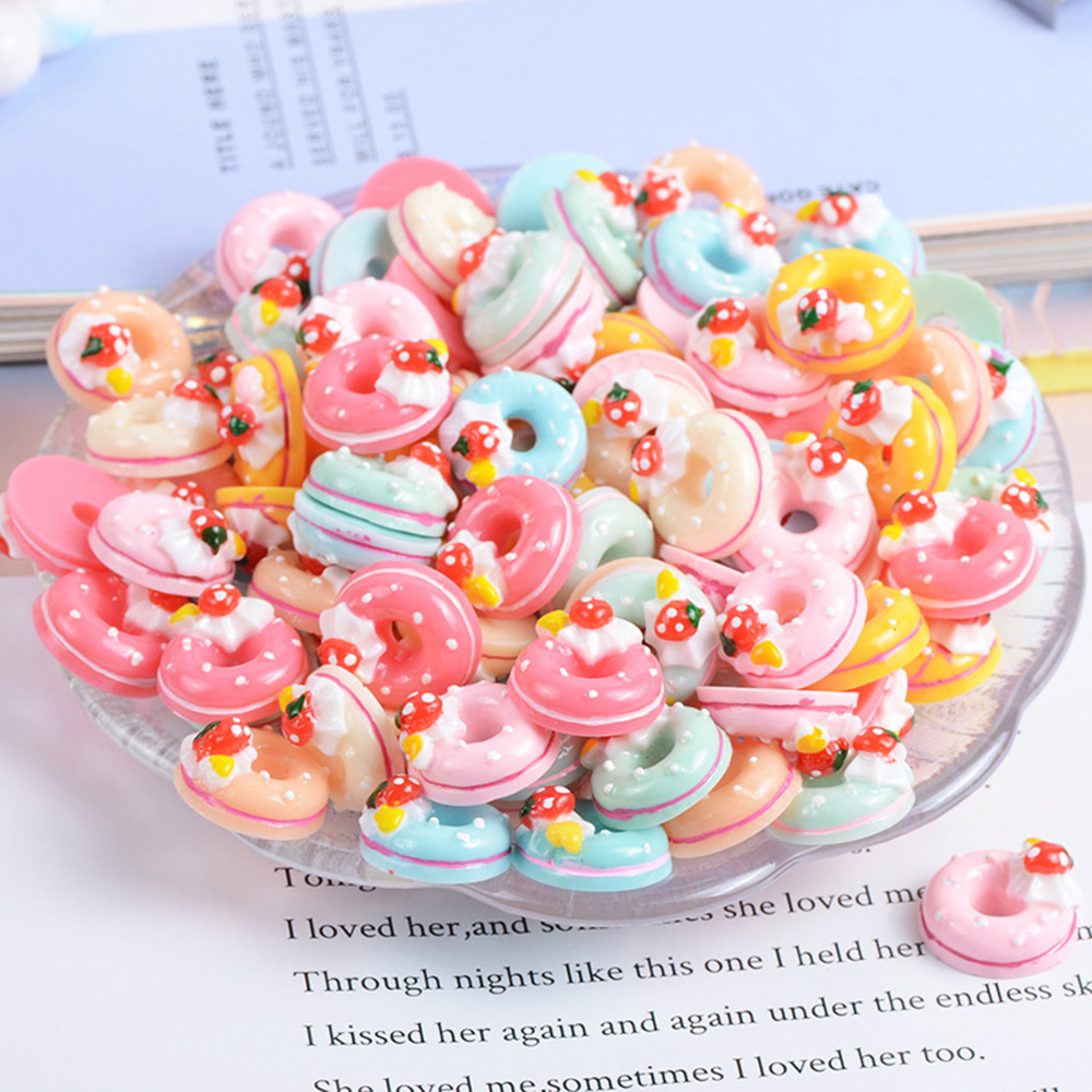 10 Pcs Resin Cream Strawberry Donut Slime Clay Charm Filling Accessories Kids Toy Earrings Hair Ring Handmade DIY Accessories