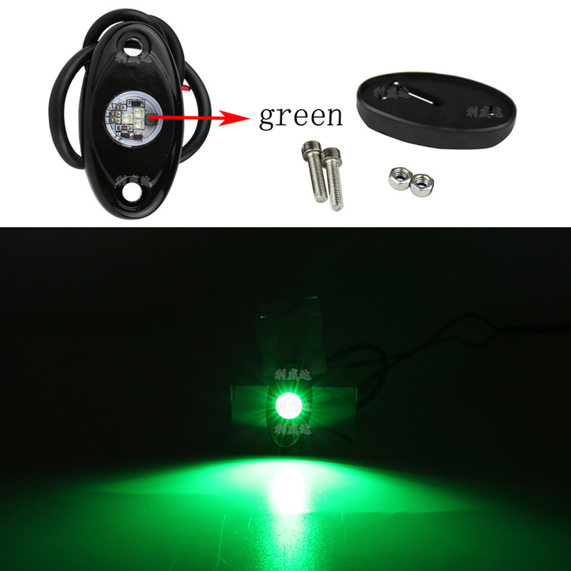 9W Green Light Vehicle Bottom Light Automobile Oval LED Chassis Decorative Light RV Truck Compartment Atmosphere Light