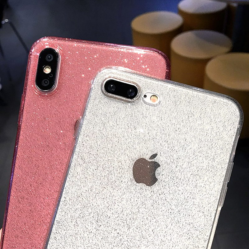 Image 4 - Luxury Glitter Transparent Soft Silicone Phone Case For iPhone 7 Case X XR XS MAX 6 6s 8 Plus Plain Color Ultra thin Bling Cover