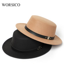 Fedora Hat Women Top Hats Women Winter Classic Black Vintage Bowler Ladies Imitation Wool Felt Hat Autumn 2019(China)