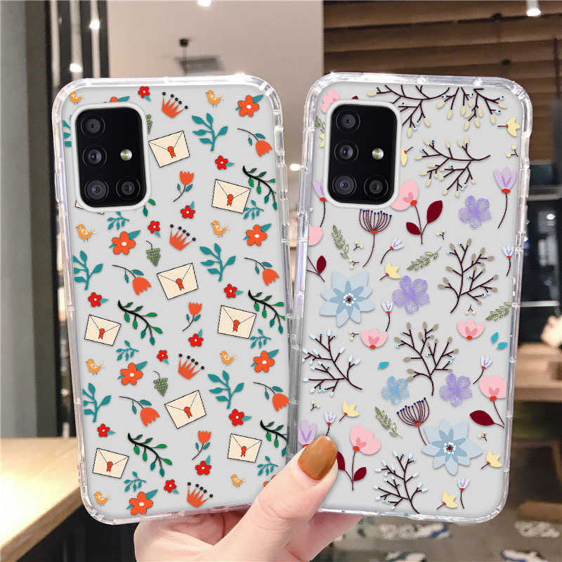 Cute Flowers Soft Phone Case For Samsung Galaxy A51 A71 S20 FE A21S A50S M51 A30 Note 20 S21