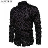 Fake Feather Black Sexy Shirt Men 2020 Slim Fit Long Sleeve Clubwear Mens Dress Shirts Party Prom Social Shirt Chemise Homme 3XL