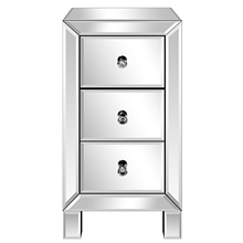 Nightstand Bedside Mirrored Bedroom Silver 3-Drawers Modern for Us-Stock Us-Stock