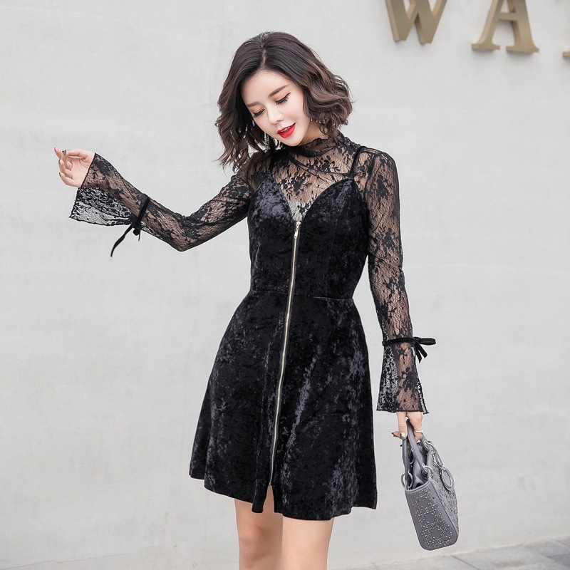 Set 2018 Autumn And Winter New Products Korean-style Lace Bell Sleeve Tops + Fashion Slim Fit Strapped Dress Two-Piece Set