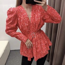 Autumn Women Elegant Floral Blouse Shirts Women V Neck Blusas Tops Long  Sleeve Causal Shirts attractive floral printed v neck long sleeve blouse for women