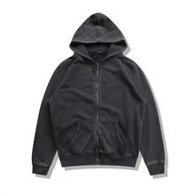 QoolXCWear hoodies men black thick grey street wear brand clothing solid casual loose zipper quality cotton top 2606