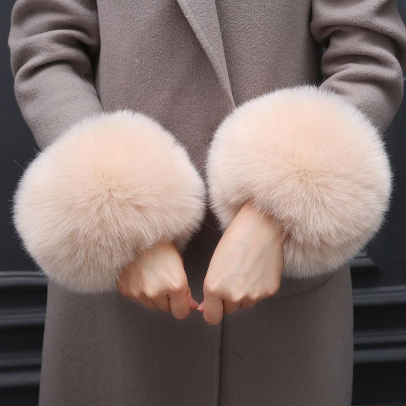 Pair Women Warm Faux Fox Fur Wrist Slap On Cuffs Winter Ladies Arm Warmer Fashion Warmer Cuffs Wraps Plush Wrist Protector
