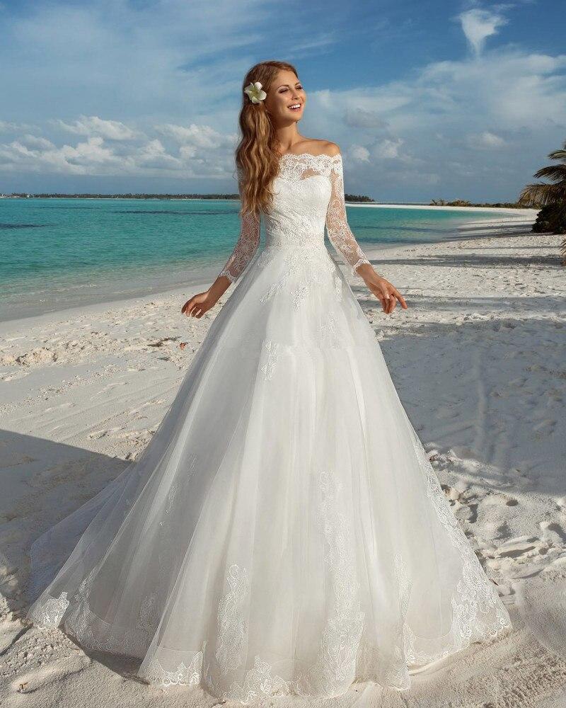 2016 Beach Long Sleeve Wedding Dresses With Sheer Back Off The Shoulder Princess Wedding Dress Gelinlik