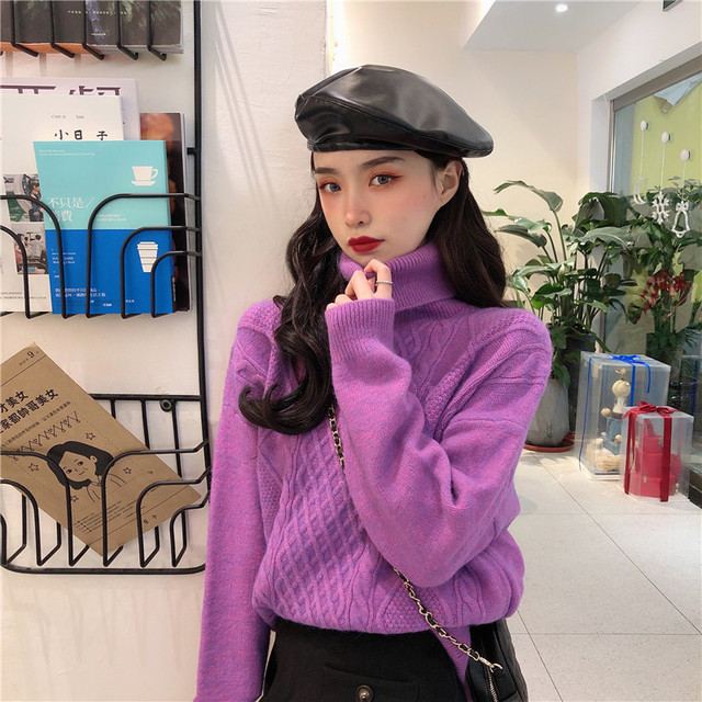 Ailegogo New Women Spring Turtleneck Pullovers Casual Female Knitted Loose Fit Sweater Retro Solid Color Ladies Knitwear Tops 1