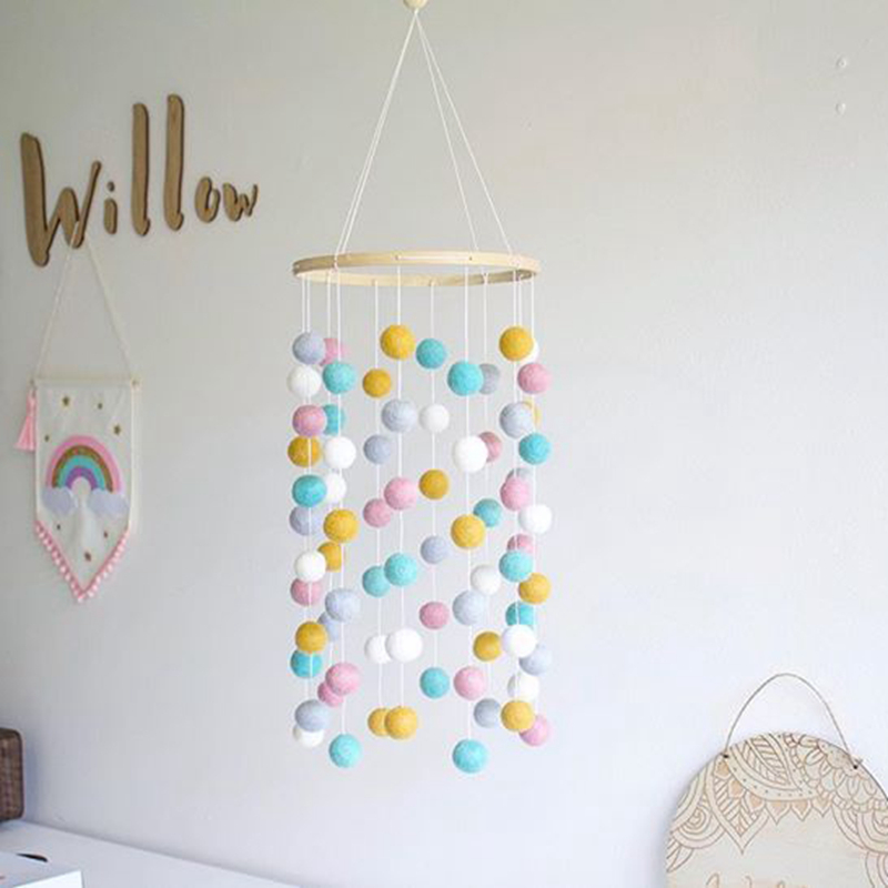 Baby Rattles Nordic Wind Chime Bed Bell Room Decoration Photography Props Wooden Rattle Mobile Activity Play Gym Baby Toys