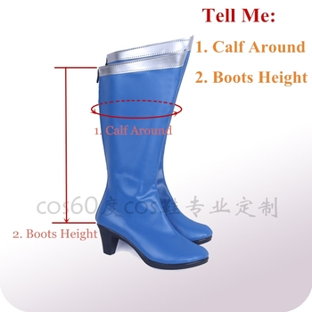 Anime Sailor Moon Cosplay Shoes Knee Length PU Leather Sailor Mercury Cosplay Boots High Heels Zipper-up Girls Halloween Shoes 2