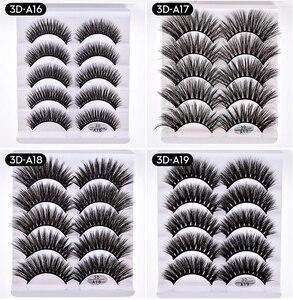 Image 2 - Pestañas postizas de pelo de visón, 1/5/10 pares, esponjosas/gruesas, pestañas largas, finas, naturales, maquillaje de belleza para los ojos, herramientas de pestañas de imitación