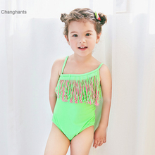 2-10 Y Girl One Piece Swimsuit Children Sling Swimwear Girls Green and Pink Tassel Swim Wear Bathing Suit In Summer