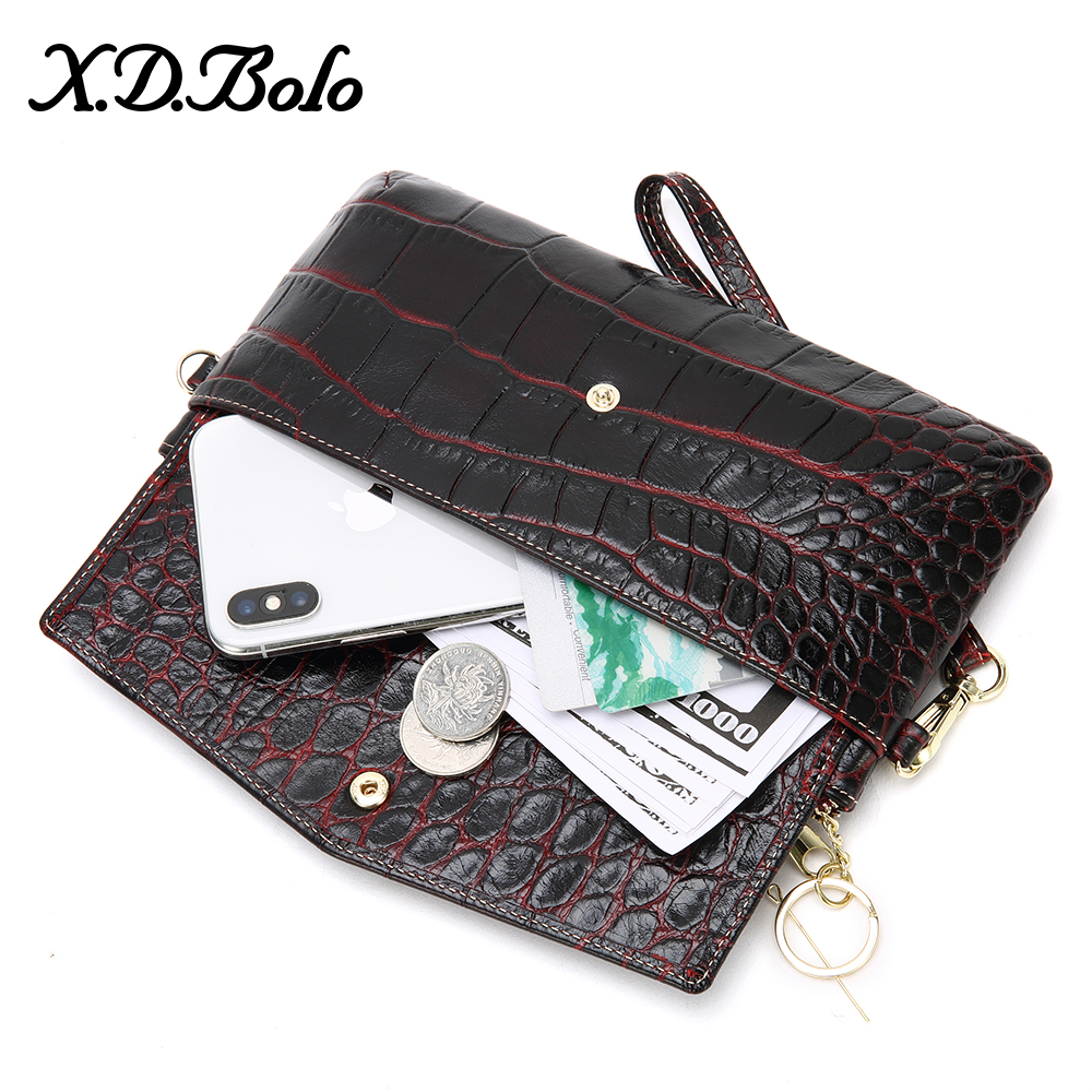 XDBOLO Fashion Women Wallets RFID Blocking Genuine Leather Women's Wallet Large Capacity Clutch Bag Card Holder Crocodile Purses